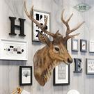 壁掛歐式仿真鹿頭壁掛動物頭壁飾復古墻面創...