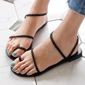涼鞋 D+AF 獨特美感.簡約麻辮編織套指涼鞋*黑