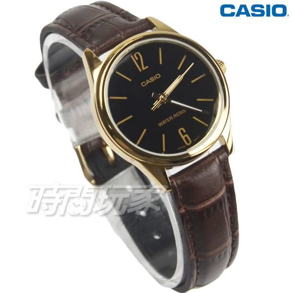CASIO卡西歐 LTP-V005GL-1B 溫暖大方線條真皮女錶 日常防水手錶 金框x咖啡 LTP-V005GL-1BUDF
