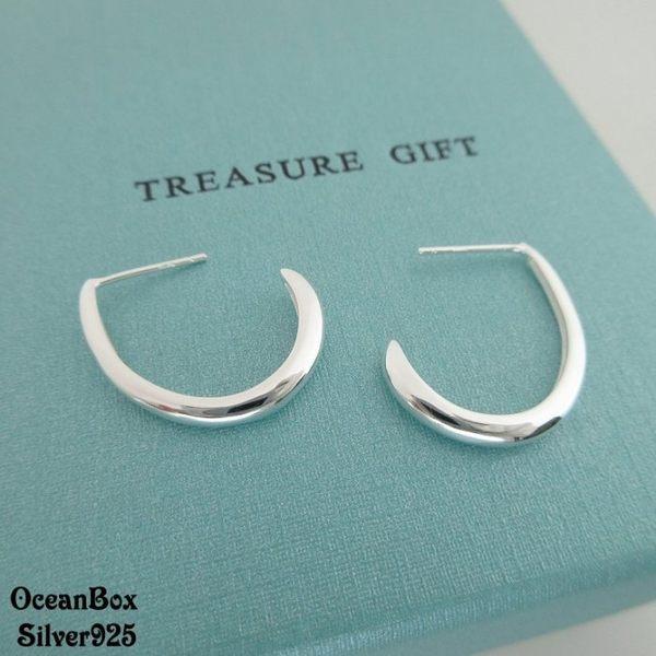 ☆§海洋盒子§☆亮面拋光.立體彎月針式925純銀耳環