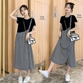 漂亮小媽咪 文藝 長裙 【D2136】 格紋 拼接 假兩件 背心裙 造型 長洋裝 孕婦裝