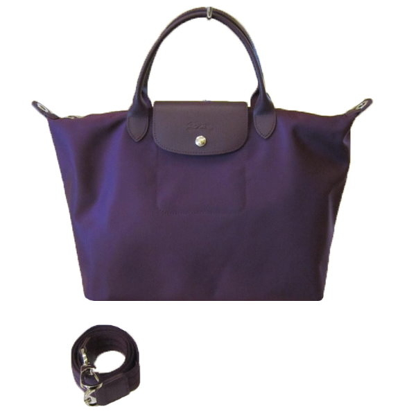 【巴黎站二手名牌專賣店】*LONGCHAMP 真品*深紫色 尼龍 手提包 肩背包 斜背包 短把(中)