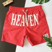男沙灘短褲全棉 男士泳褲海邊 五分速干大字母寬鬆 沙灘男潮泡溫