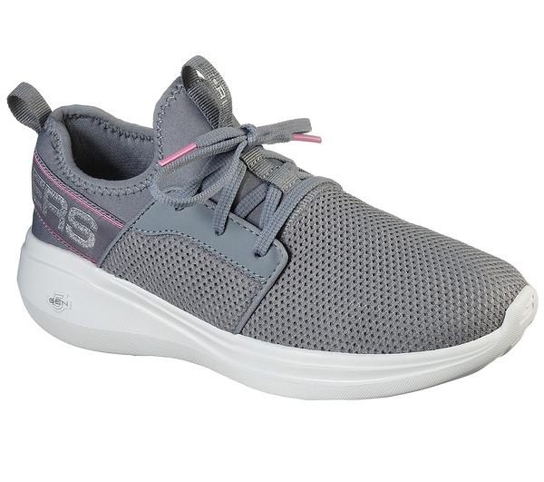 SKECHERS系列-GO RUN FAST 女款灰色網布透氣運動慢跑鞋 124203GRY