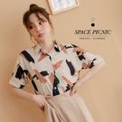 襯衫 Space Picnic|個性筆刷雪紡短袖襯衫(預購)【C21034065】