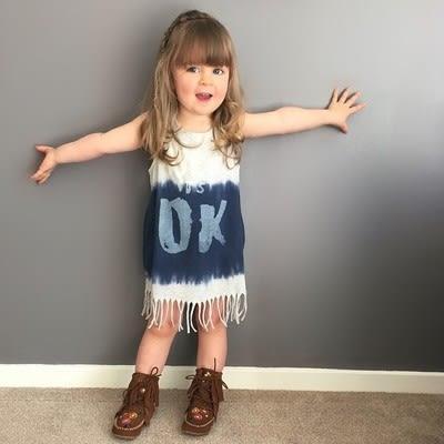 爆款 ins童裝女童裙中小童歐美流蘇邊女童爆款連衣裙連身裙- 預購