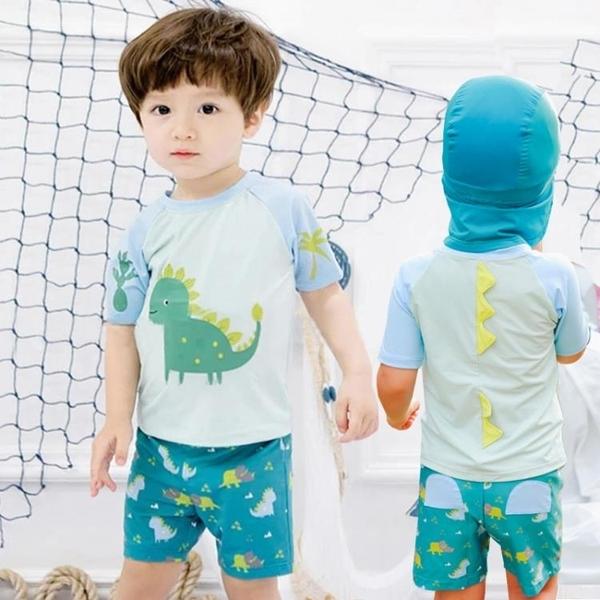 男童泳衣小童可愛分體防曬速干卡通泳衣嬰兒童寶寶游泳套裝小恐龍