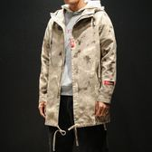 秋季迷彩中長款大衣男士加肥大碼外套韓版胖子帥氣風衣潮男裝衣服