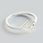 戒指 925純銀鑲鑽-精緻箭頭生日情人節禮物女開口戒73dt634【時尚巴黎】