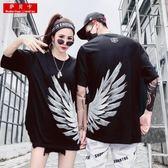 虧本衝量-酷酷的情侶款套裝夏新款帥氣街頭黑色短袖t恤女上衣嘻哈潮ins 快速出貨