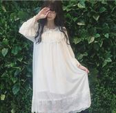 夏季新款少日系睡裙長袖蕾絲可愛家居服睡衣長裙連身裙