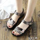 厚底楔形涼鞋新款夏季平底女鞋中年中老年厚底楔形女士百搭厚底中跟媽媽鞋涼鞋 海角七號