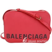 BALENCIAGA VILLE 品牌字母粒面小牛皮相機包(紅色/S) 1920713-54