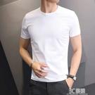 純白色短袖t恤男士半袖純色打底衫純棉健身修身體恤社會緊身衣服 3C優購
