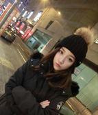 帽子女冬季學生毛球毛線帽潮秋冬天
