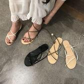 夏季新款交叉綁帶露趾平跟女士單鞋休閒簡約女士涼鞋 提拉米蘇