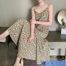 碎花洋裝 ins吊帶連身裙女2021新款夏季裙子仙女超仙森系法式雪紡 快速出貨