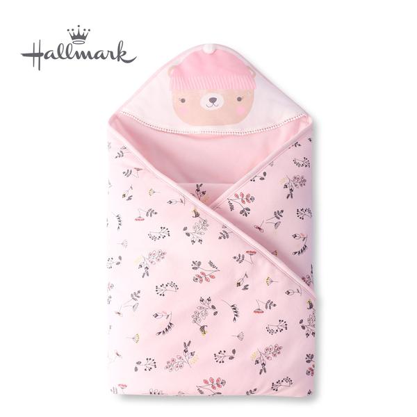 Hallmark Babies 帽子小熊女嬰純棉保暖夾棉連帽包巾/毯子 HH3-F02-A3-AG-MR