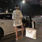 港味前後字母印花寬鬆BF短袖上衣時尚中長款情侶T恤女夏季  Cocoa