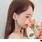 《ZC1926》高雅水鑽質感花朵造型長鏈耳環(耳針式) OrangeBear