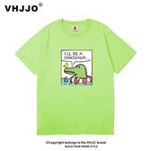 情侶裝夏裝韓版可愛卡通小恐龍印花寬松男女短袖T恤學生半袖