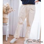【Tiara Tiara】激安 彈性棉質單色長褲(米/藍/綠)