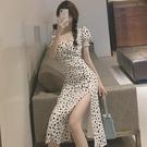 方領洋裝 白色碎花裙長款夏季開叉長裙小眾設計感鎖骨方領茶歇法式連身裙子 寶貝 免運