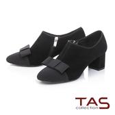 TAS異材質拼接蝴蝶結粗跟踝靴-人氣黑