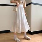 小個子高腰蛋糕裙2021新款仙女半身裙春季白色裙子顯瘦百搭中長裙