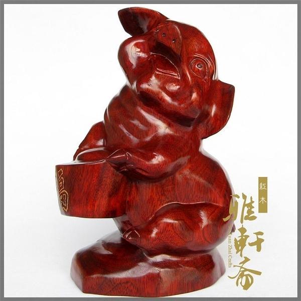 [超豐國際]T木雕豬 紅木雕刻工藝品 生日禮物 生肖紅木豬風1入