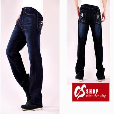 CS衣舖 高彈力 造型刷白 立體刺繡 中直筒牛仔褲 5256
