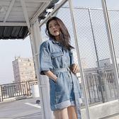 2018新款韓版寬鬆闊腿牛仔連體褲女夏連衣褲高腰顯瘦休閒連體短褲 挪威森林