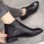 (全館一件免運費)DE shop~(NN-5100)馬丁靴女英倫風百搭短靴平底裸靴