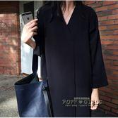 韓國 復古小眾 OVERSIZE 氣質v領寬鬆長袖長款襯衫式洋裝女     泡芙女孩輕時尚