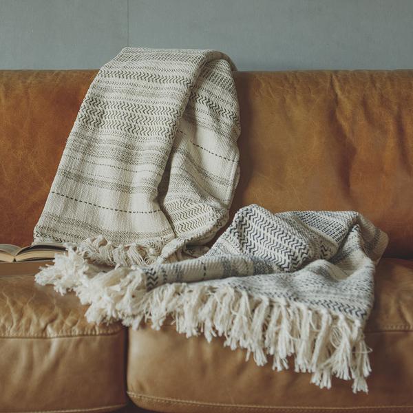 毯子 New Bohemian 印度手工編織披毯 - 條紋【2色任選】印度製 毯 翔仔居家