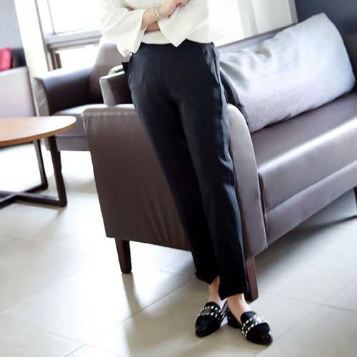 直筒褲 素面黑色西裝彈力後鬆緊顯瘦長褲 艾爾莎【TGK3910】