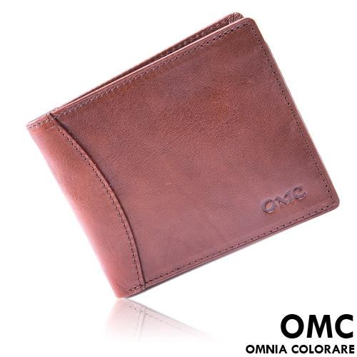 OMC - 原皮工藝薄型真皮左右翻11卡1照短夾
