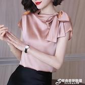高端緞面襯衫女設計感小眾蝴蝶節優雅氣質雪紡衫上衣女夏 時尚芭莎
