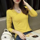 長袖針織衫-純色簡約百搭V領女T恤10色73hn2【時尚巴黎】