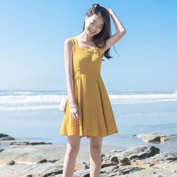 洋裝 小清新學生吊帶裙子女夏季文藝范韓版小個子修身顯瘦a型洋裝夏