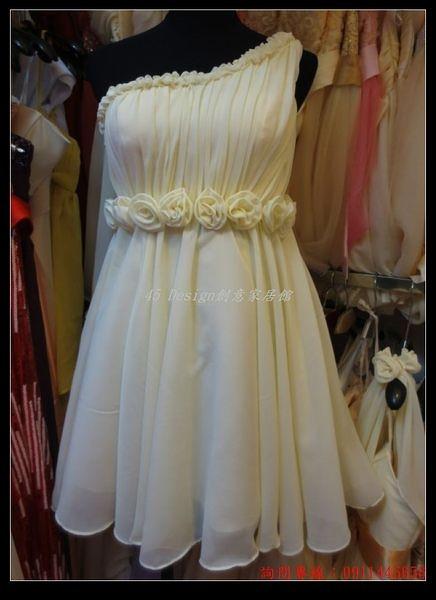 (45 Design) 訂做款式7天到貨 款韓式單肩清新可愛短款小禮服