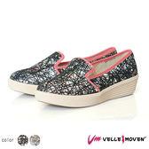 懶人鞋 厚底鞋 Velle Moven 休閒便鞋 舒適好穿好脫 增高 渲染線性交織個性鞋 /線質黑