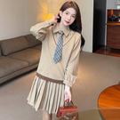 VK精品服飾 韓國學院風針織衫格紋領帶百褶裙套裝長袖裙裝
