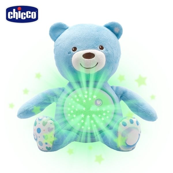 chicco-彩虹投射甜蜜晚安熊-粉藍