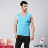 【MORINO摩力諾】男內衣~吸排涼爽素色網眼運動無袖衫 水藍色