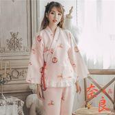 純棉和服睡衣女日式和風卡通寬松大碼可愛家居服套裝【奈良優品】