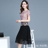 高貴夏季大碼媽媽禮服裙新款蕾絲改良旗袍氣質高貴洋氣婚禮宴會修身洋裝 HT3152