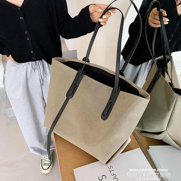 側背包 包包新款潮秋冬女大容量百搭帆布包時尚手提側背包大包托特包 萊俐亞