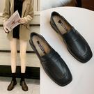 小皮鞋女 兩穿小皮質鞋女簡約百搭加絨工作...