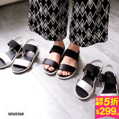 MIUSTAR 一字寬版彈性帶撞色平底涼鞋(共3色,22.5-25)【NE1236ZP】預購
